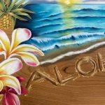 木目ボードに描く海