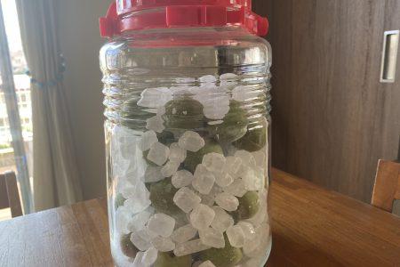 採ってきた梅で梅ジュースを漬けました