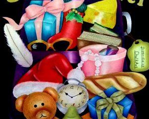 サンタの旅仕度:2009年 CAAチョークアーティスト協会グループ展出展作品 テーマは「MERRY*CHALKART」 サンタクロースが子供達にプレゼントを配るために旅に出る準備をしています。スーツケースの中をイメージしました。