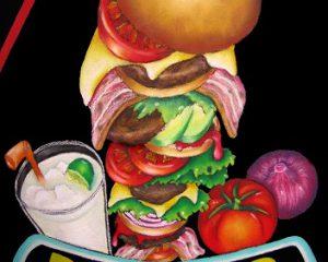 ハンバーガー:何層にも重ねたタワーハンバーガー。 これぞ!チョークアートという作品です。