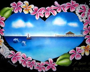 ウェディング(海・プルメリア):サイズ:A3ボード 南国が好きなご夫婦から、海とプルメリアでオーダー頂きました。プルメリアでハートを形取っています。
