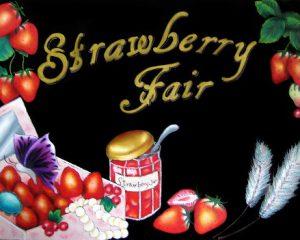 「LE PAN」様 ストロベリーフェア看板:イチゴの商品をメインにした、ストロベリーフェアのアピール看板 宝石箱にイチゴと宝石を詰め込みました。