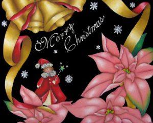 舞い降りた天使:2011年 CAA日本チョークアーティスト協会 グループ展出展作品 テーマは「Merry Christmas」 ピンクのポインセチアをモチーフに描きたかったので、目立つ様に大きめに描いています。