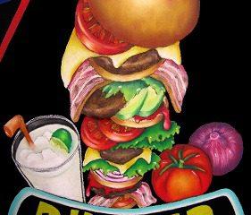 ハンバーガー: 2012年3月 天王寺Hoop 6階KAWACHI 展示会作品 チョークアートの王道である、食べ物を描きました。