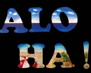 ALOHA文字の中に海の景色!